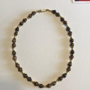 Beaded necklace cat eye beads